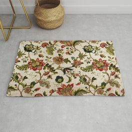 Red Green Jacobean Floral Embroidery Pattern Rug