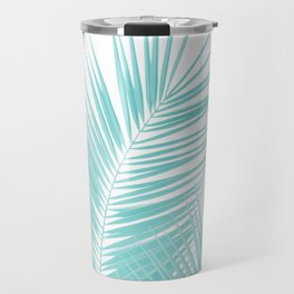 Soft Turquoise Palm Leaves Dream - Cali Summer Vibes #1 #tropical #decor #art #society6 Travel Mug