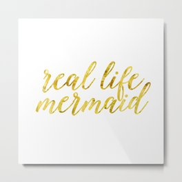 real life mermaid in gold Metal Print
