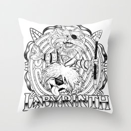 Sir Didymus and Ambrosius - Labyrinth - Monochrome Throw Pillow
