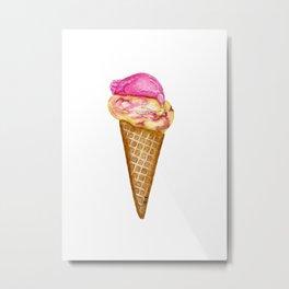Raspberry Ripple Ice Cream in Watercolor Metal Print