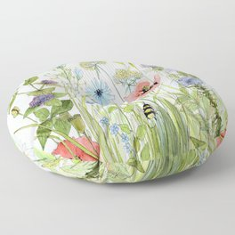 Floral Watercolor Botanical Cottage Garden Flowers Bees Nature Art Floor Pillow