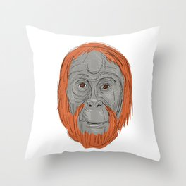 Unflanged Male Orangutan Drawing Throw Pillow