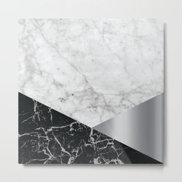 Geometric White Marble - Black Granite & Silver #230 Metal Print