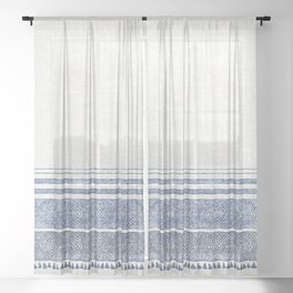 FRENCH LINEN CHAMBRAY TASSEL Sheer Curtain