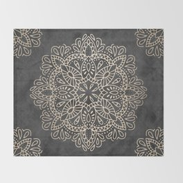 Mandala White Gold on Dark Gray Throw Blanket