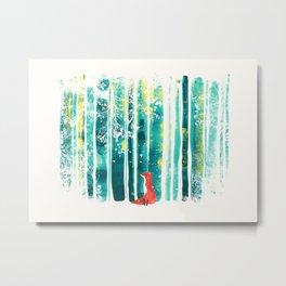Fox in quiet forest Metal Print