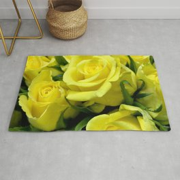 Yellow Glamorous Roses Floral Bouquet Rug