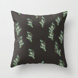 Eucalyptus Sprig on Black Throw Pillow