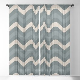 Blue Willow Green & Alpaca Wool Cream Wavy Horizontal Stripes on Night Watch Green Sheer Curtain