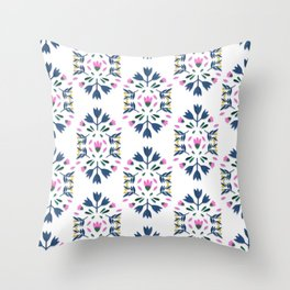 PATTERN FOLK PAPER FLOWER Throw Pillow