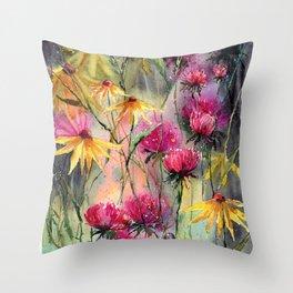 Shiny Rudbeckia And Thistle Throw Pillow