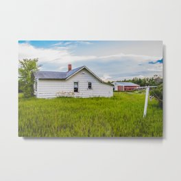 Little Farmhouse All Alone, North Dakota 3 Metal Print