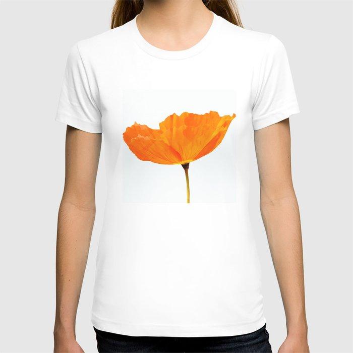 One And Only - Orange Poppy White Background #decor #society6 #buyart T-shirt