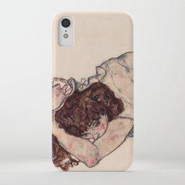 KNEELING GIRL, RESTING ON BOTH ELBOWS - EGON SCHIELE iPhone Case
