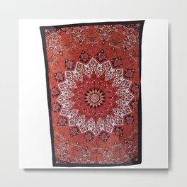 Red Hippie Star Mandala Throw Wall Hanging Bedspread  Metal Print