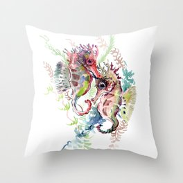 Seahorse, Soft Coral Colors Throw Pillow