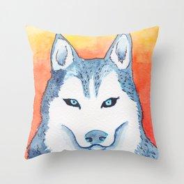 Blue Husky Throw Pillow