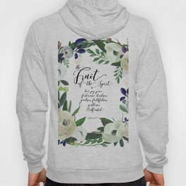 Fruit of the Spirit, navy, ivory, green floral palette Hoody