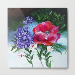 Etude with Poppy Flower and Lilac Metal Print