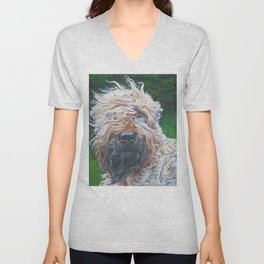 Soft-coated Wheaten Terrier from an original painting by L.A.Shepard Unisex V-Neck