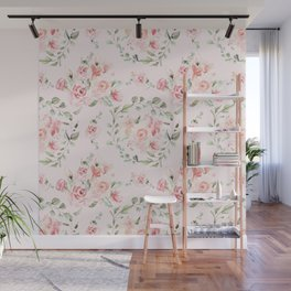 Rose Blush Watercolor Flower Pattern Wall Mural