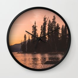 Forest Island at the Lake - Nature Photography Wall Clock