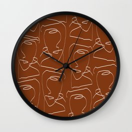 Line Art, Woman Face, Abstract Continues Line  Wall Clock