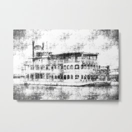 New Orleans Paddle Steamer Vintage Metal Print