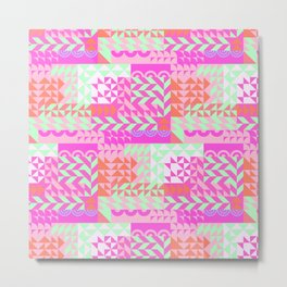 Modern Abstract Geometrical Magenta Pink Mint Green Pattern Metal Print