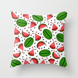 Juicy Watermelon Pattern On White Background Throw Pillow