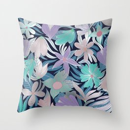 Silver Purple Blue Floral Leaves Illustrations Throw Pillow