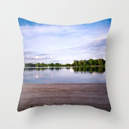The jetty to the lake Throw Pillow