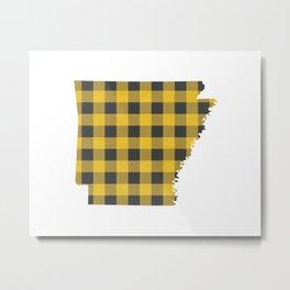 Arkansas Plaid in Yellow Metal Print