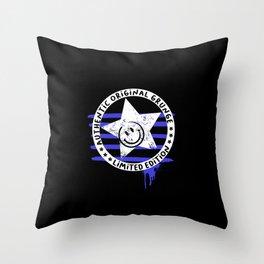 Grunge urban smiley (Black background) Throw Pillow