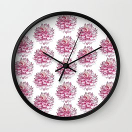 Watercolor dahlias pattern on white Wall Clock