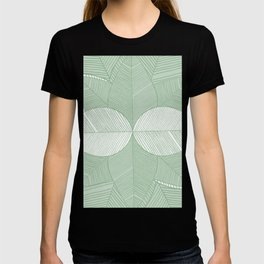 Minimal Tropical Leaves Pastel Green T-shirt