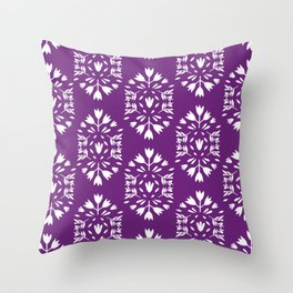 purple folk art paper flower Throw Pillow