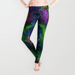 Evening Glory Vortex (totem, psychedelic, visionary) Leggings