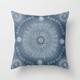 """Indigo blue & Cinder Vault Mandala(Silver stars)"" Throw Pillow"