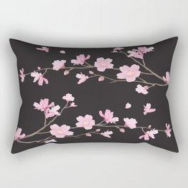 Cherry Blossom - Black Rectangular Pillow