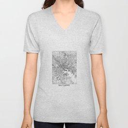 Baltimore White Map Unisex V-Neck