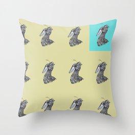 Shoebill dinosaur bird ink drawing yellow mustard Throw Pillow