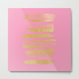 Modern pink faux gold leaf stripes art Metal Print
