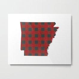 Arkansas Plaid in Red Metal Print