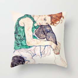 Egon Schiele - Seated Woman with Bent Knee Throw Pillow