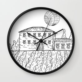 Italian Vintage Night - Countryside Landscape Black White Wall Clock