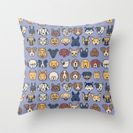 Doggos - Blue Throw Pillow