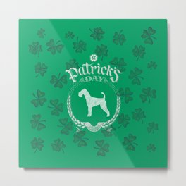 St. Patrick's Day Airedale Terrier Funny Gifts for Dog Lovers Metal Print
