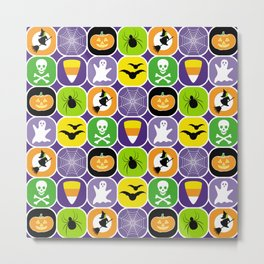 Halloween Pattern 2 - Ghosts, Skulls, Flying Witches, Bats, Spiders, Pumpkins, Candy Corn Metal Print
